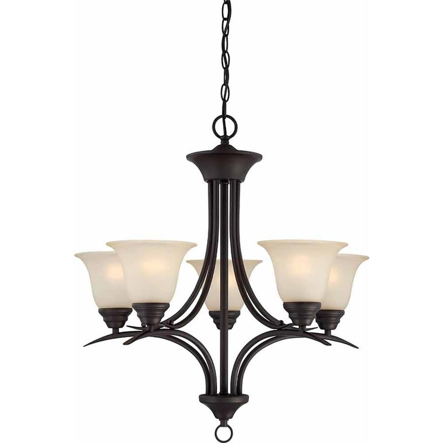 Chama 23.75-in 5-Light Antique Bronze Tinted Glass Candle Chandelier