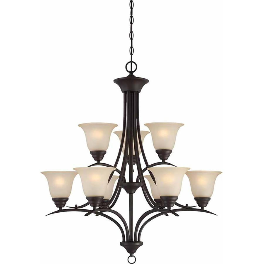 Chama 30-in 9-Light Antique Bronze Tinted Glass Tiered Chandelier