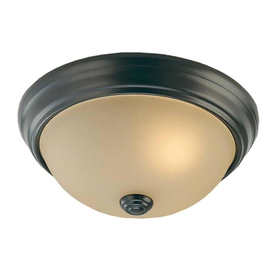 Clutier 11-in W Antique Bronze Standard Flush Mount Light