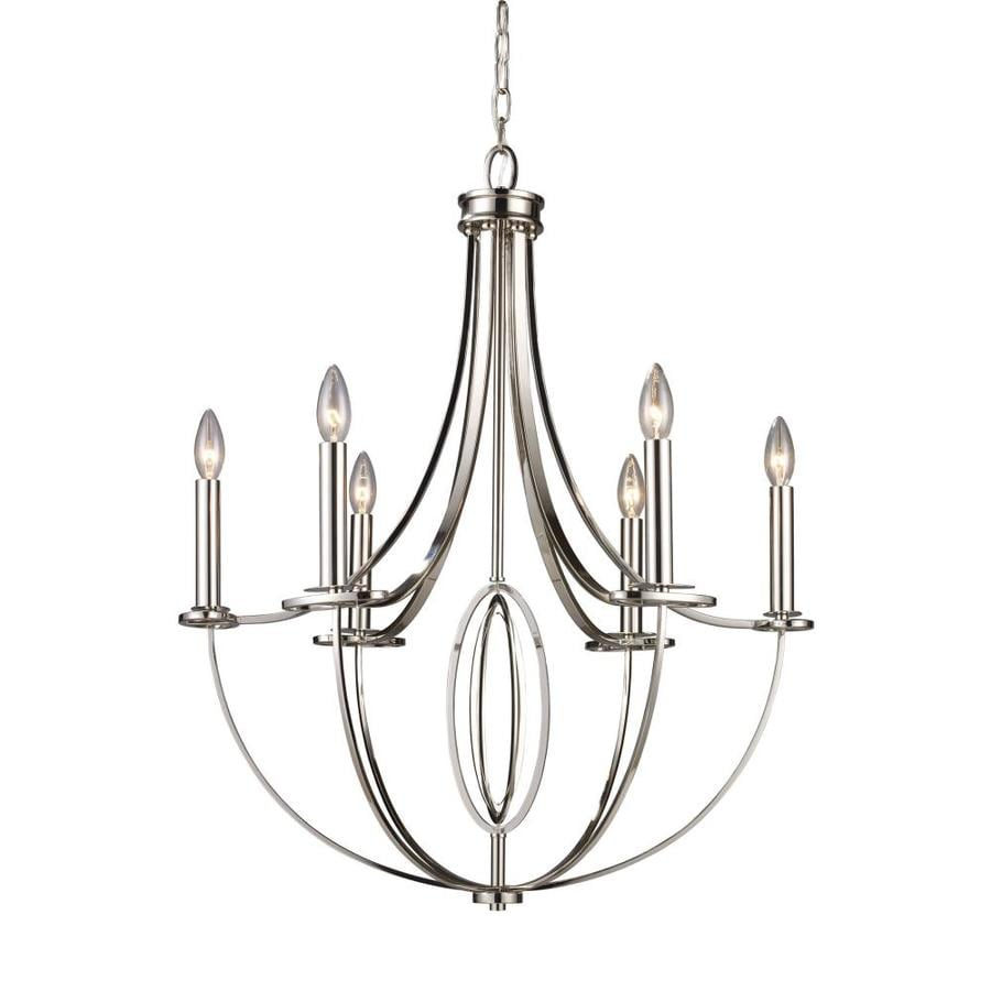 Westmore Lighting 31-in 6-Light Polished Nickel Candle Chandelier