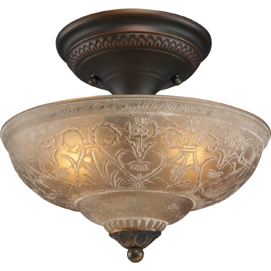 Lowes Light Fixtures Ceiling: Shop Portfolio 11.5-in W White Washed Etched Glass Semi