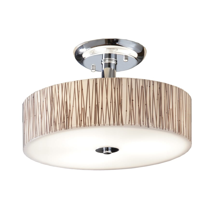 allen + roth Allen + Roth 14-in W Polished Chrome Clear Glass Semi-Flush Mount Light