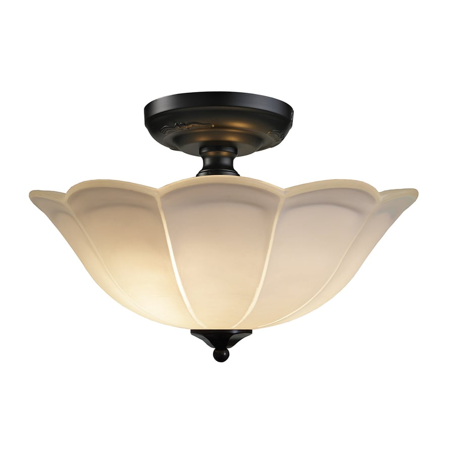 shop allen roth 15 in w rust frosted glass semi flush mount light at. Black Bedroom Furniture Sets. Home Design Ideas
