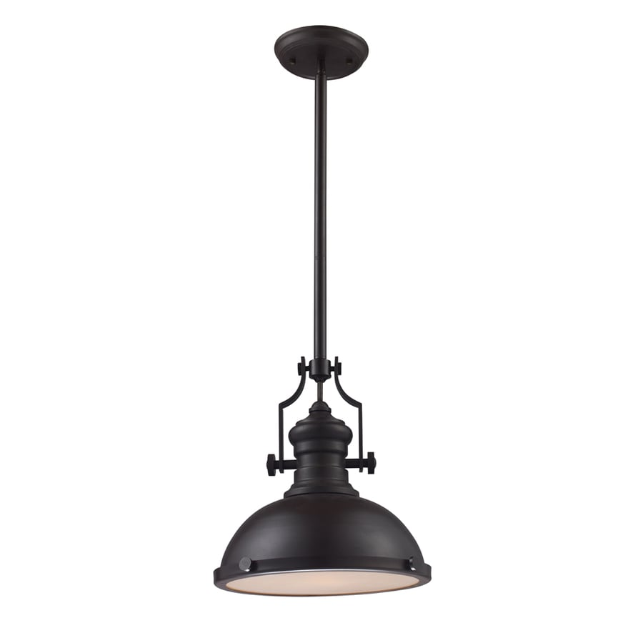 Shop Portfolio 13-in Oiled Bronze Single Pendant At Lowes.com