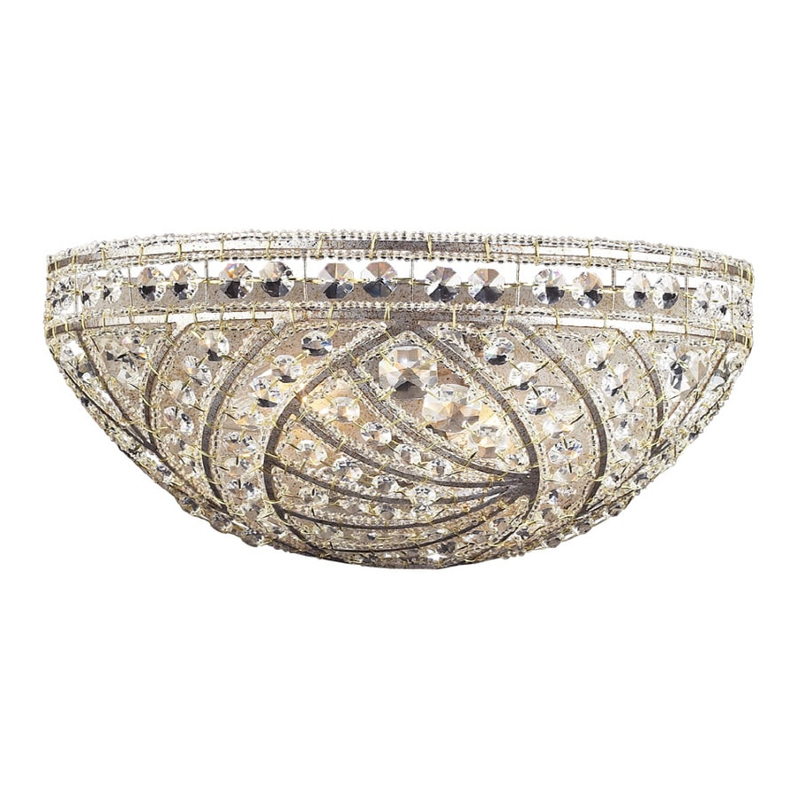 Westmore Lighting Ardenbrook 14-in W 1-Light Weathered Silver with Polished Lead Crystal Pocket Hardwired Wall Sconce