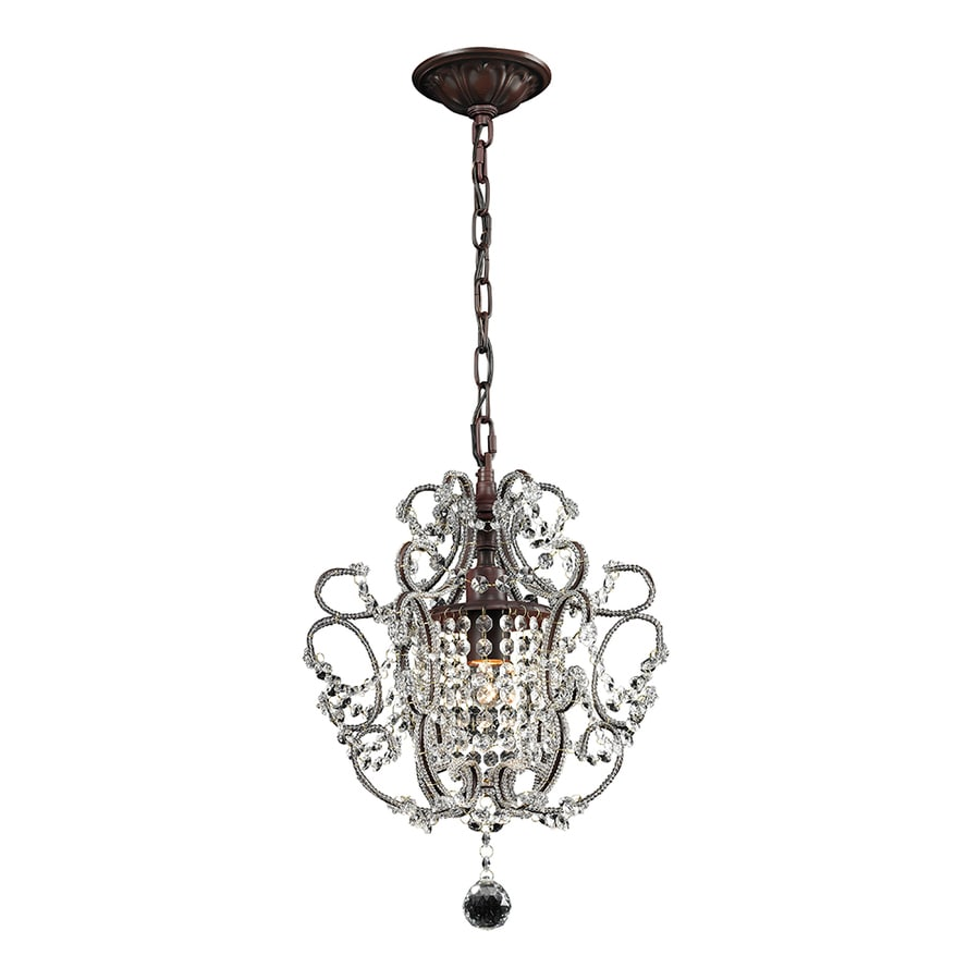 Portfolio 12-in 1-Light Rust Crystal Standard Chandelier