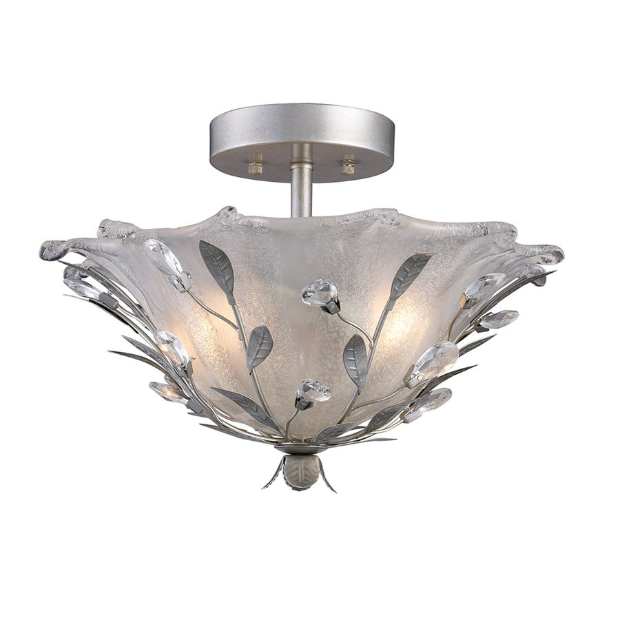 Portfolio 16 In W Silver Frosted Glass Semi Flush Mount Light