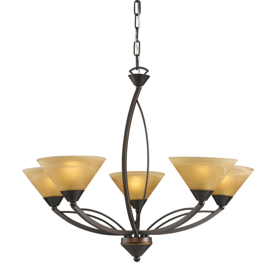 Westmore Lighting 28-in 5-Light Aged Bronze Art Glass Candle Chandelier