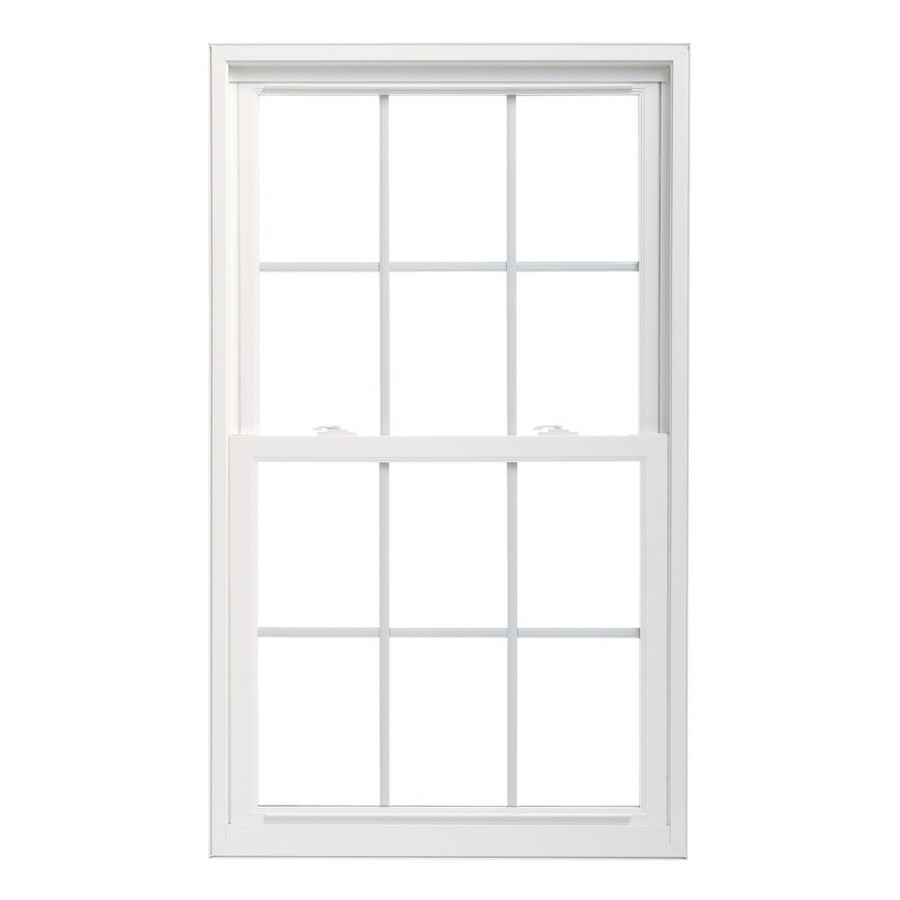 Pella 32X66 ThermaStar by Pella Double Hung Vinyl 25 Series Grid Insulated Glass White with Screen