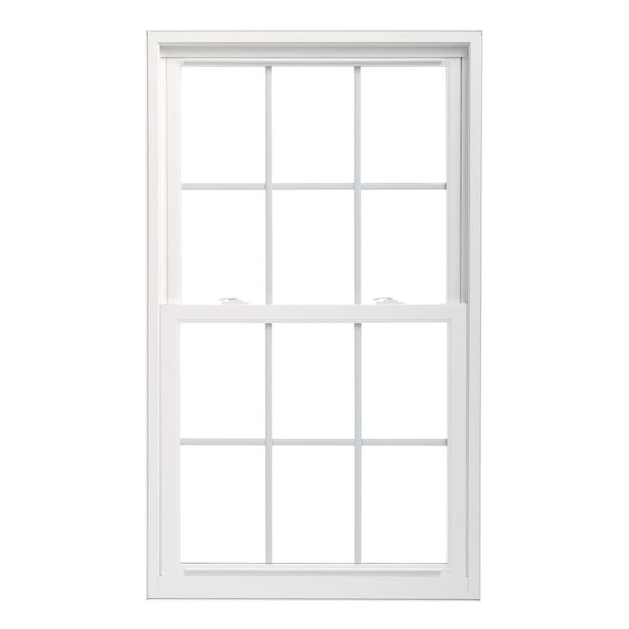 Pella 32X38 ThermaStar by Pella Double Hung High Performance Vinyl 25 Series Grid Insulated Glass White with Screen