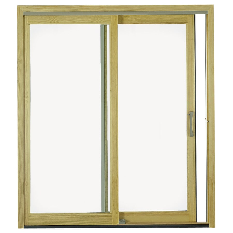 Pella 71 25 In Clear Glass White Wood Sliding Patio Door