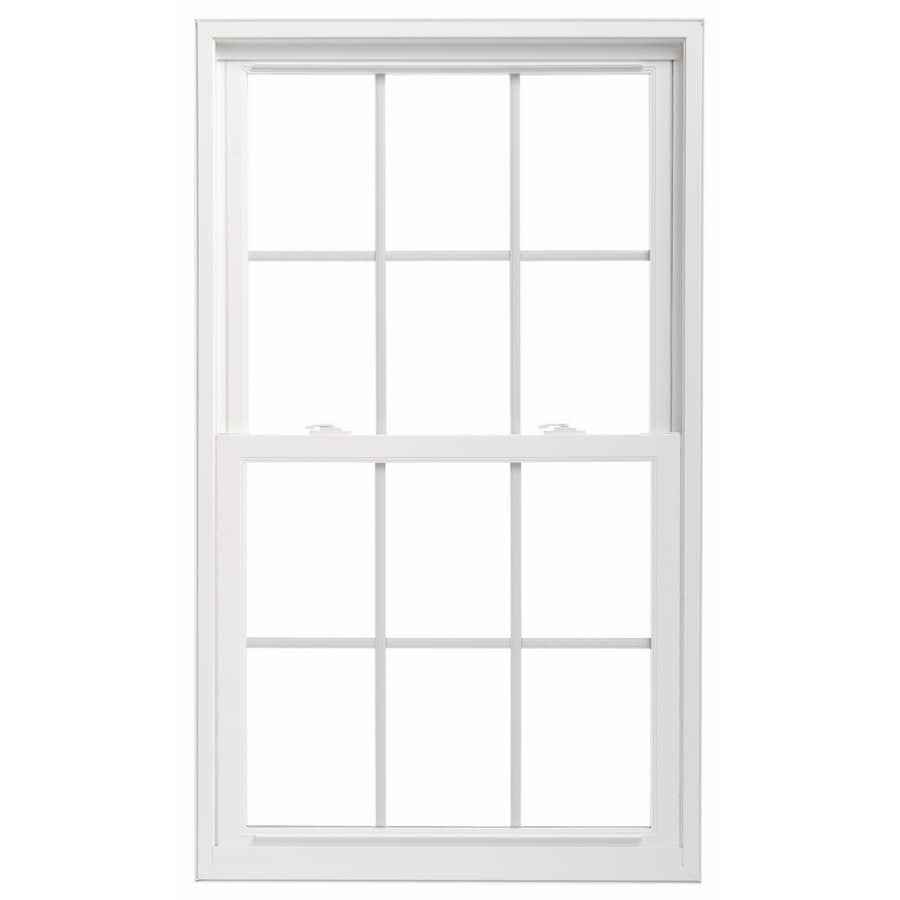 lowes pella windows thermastar by pella vinyl new construction white exterior double hung window rough opening 3175