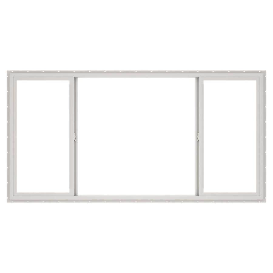ThermaStar by Pella 10 Series Both-Operable Vinyl Double Pane Annealed Egress Sliding Window (Rough Opening: 96-in x 48-in; Actual: 95.5-in x 47.5-in)