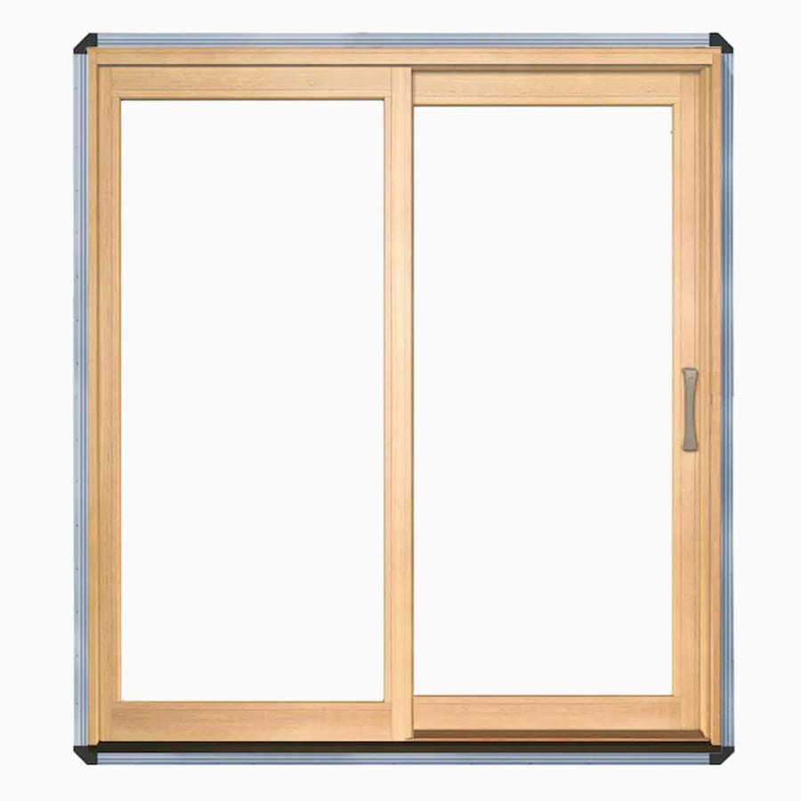Shop pella x 79 5 in clear glass left hand white for Glazed sliding doors