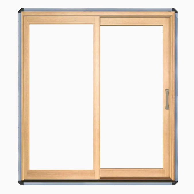 Pella Lifestyle 72 In X 80 In Clear Glass Wood Left Hand Sliding Double Door Sliding Patio Door In The Patio Doors Department At Lowes Com