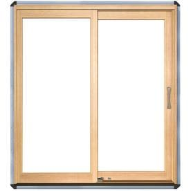 Shop patio doors at lowes pella 7125 in x 795 in clear glass left hand white wood sliding planetlyrics Choice Image