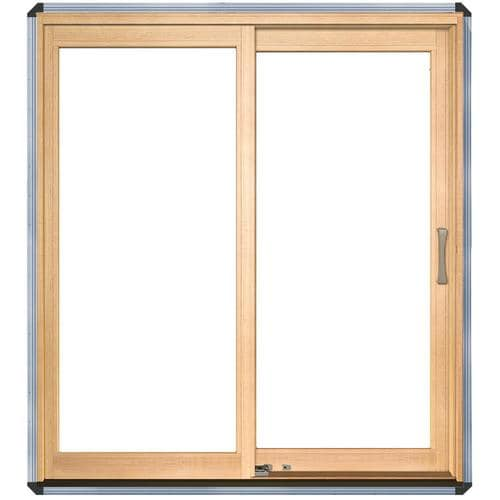 Pella Lifestyle Clear Glass Wood Left-Hand Sliding Double