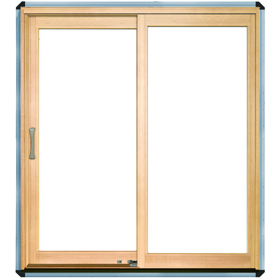 Pella 450 Series 71-1/4-in Dual-Pane Clear Wood Sliding Patio Door