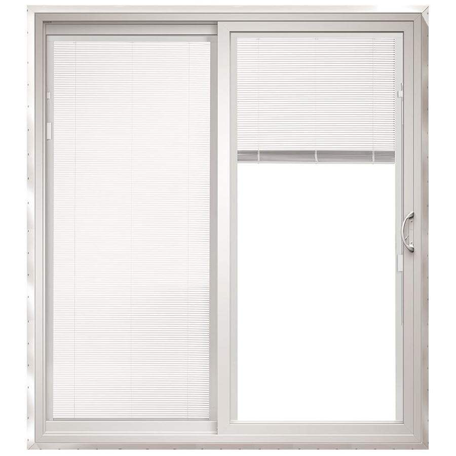 ThermaStar by Pella 71.5-in x 79.5-in Blinds Between the Glass Left-Hand White Vinyl Sliding Patio Door