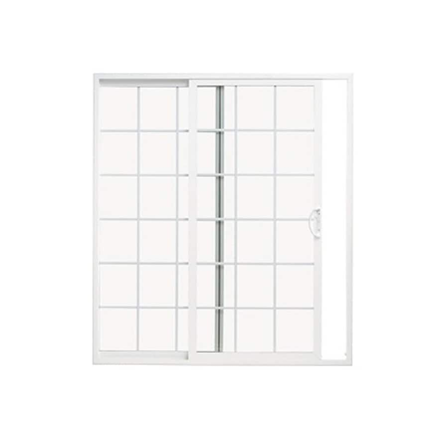 ThermaStar by Pella 71.5-in x 79.5-in Grilles Between the Glass Reversible White Vinyl Sliding Patio Door