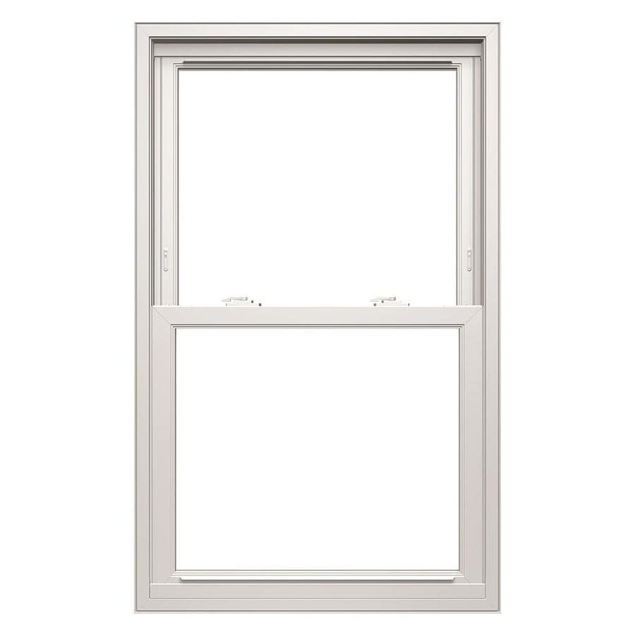 Thermastar By Pella Vinyl Replacement White Exterior Double Hung Window Rough Opening 33 75