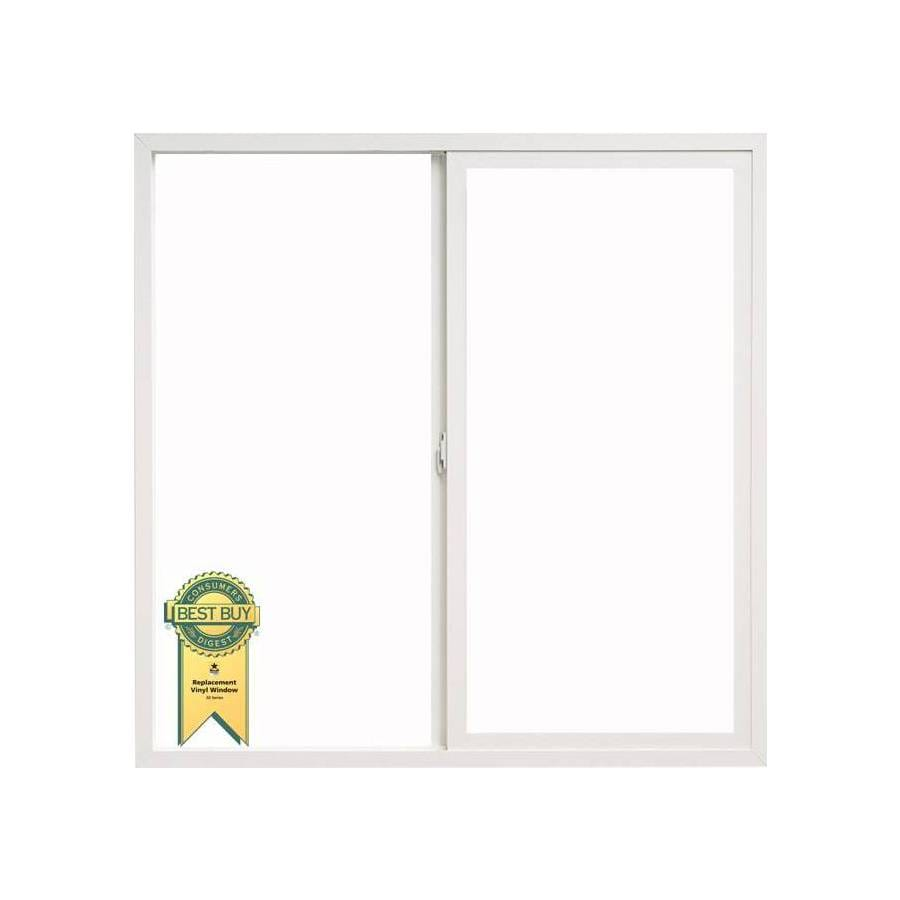 ThermaStar by Pella Left-Operable Vinyl Double Pane Annealed Replacement Sliding Window (Rough Opening: 33.75-in x 45.75-in; Actual: 33.5-in x 45.5-in)
