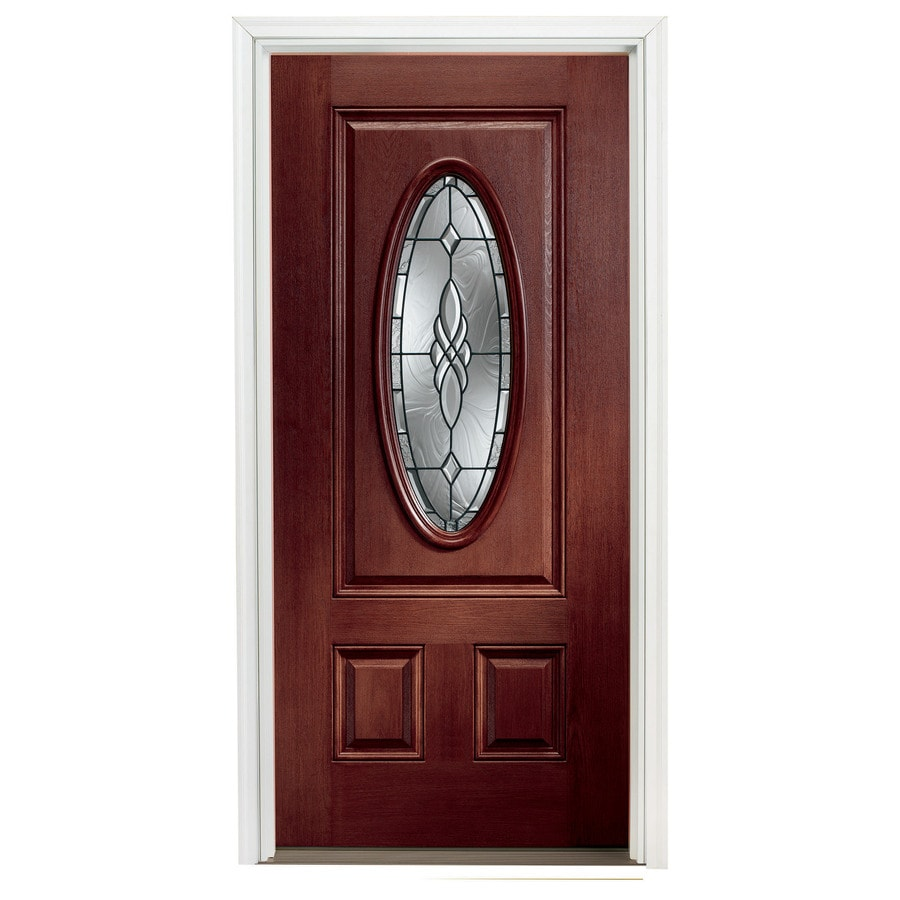 Pella 37 1 2 Oval Lite Decorative Red Mahogany Stain Entry Door