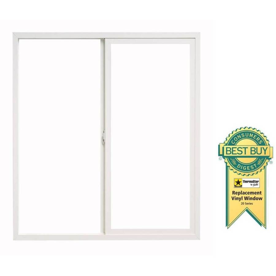 ThermaStar by Pella Right-Operable Vinyl Double Pane Annealed Replacement Egress Sliding Window (Rough Opening: 47.75-in x 47.75-in; Actual: 47.5-in x 47.5-in)
