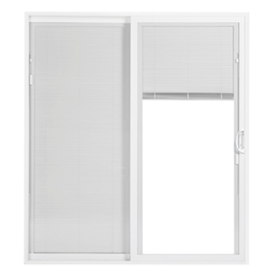 ThermaStar by Pella 25 Series 58.75-in Blinds Between the Glass White Vinyl Sliding Patio Door