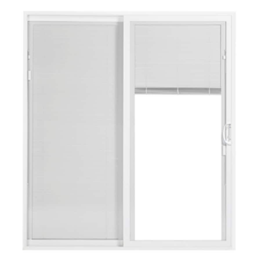 Thermastar By Pella Theramstar Blinds Between The Gl White Vinyl Universal Reversible Double Door Sliding Patio Common 60 In X 80