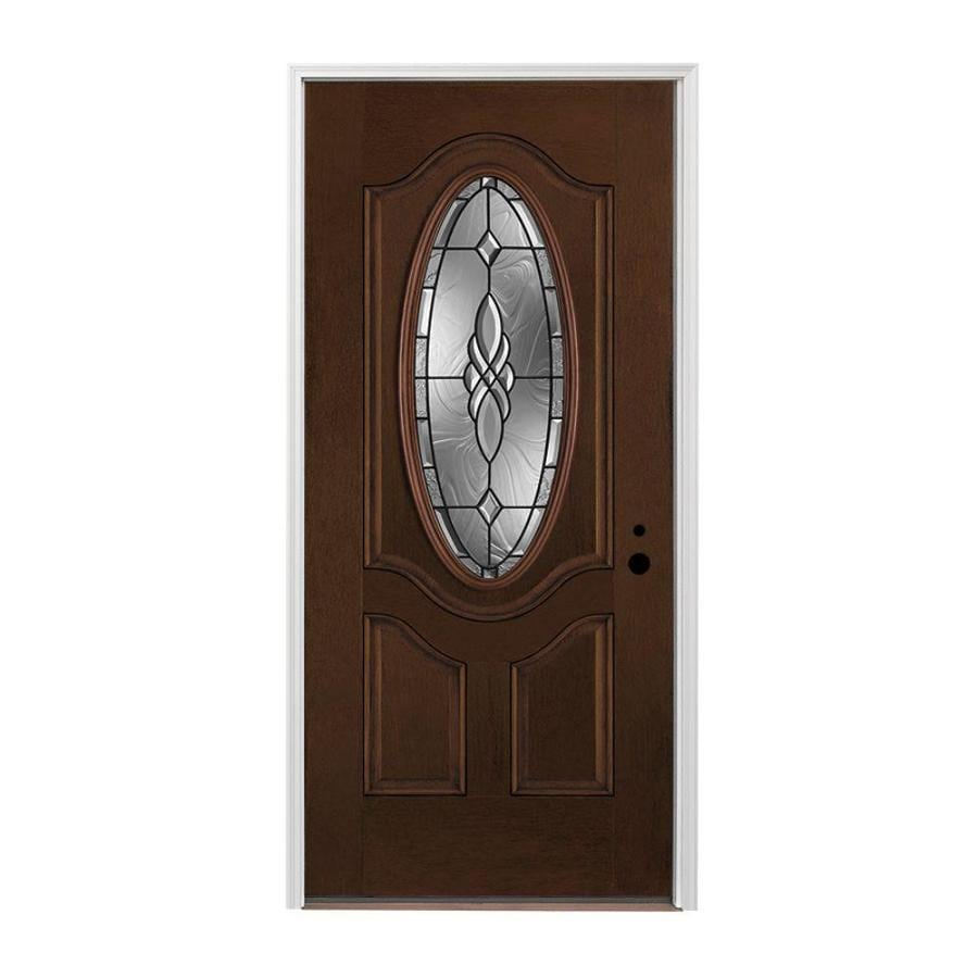 Pella 1-panel Insulating Core Left-Hand Inswing Prestained Dark Mahogany Fiberglass Stained Prehung Entry Door (Common: 336-in x 80-in; Actual: 37.5-in x 81.75-in)