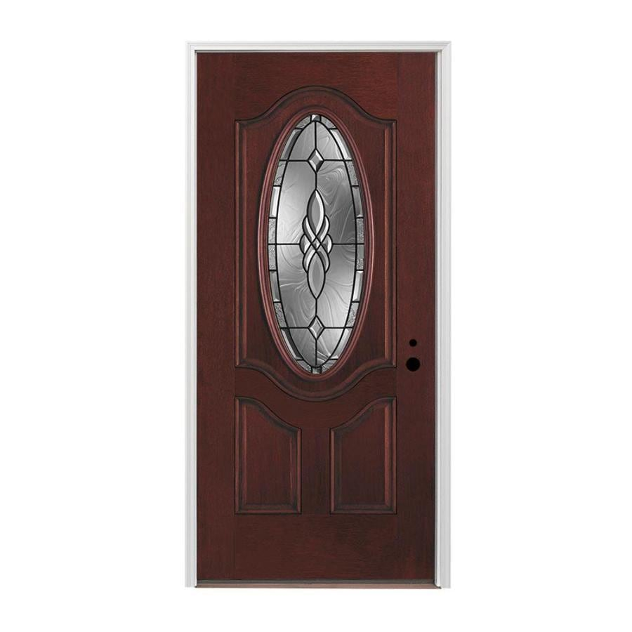 Shop pella oval lite left hand inswing prestained red mahogany stained fiberglass entry door for Lowes fiberglass exterior doors