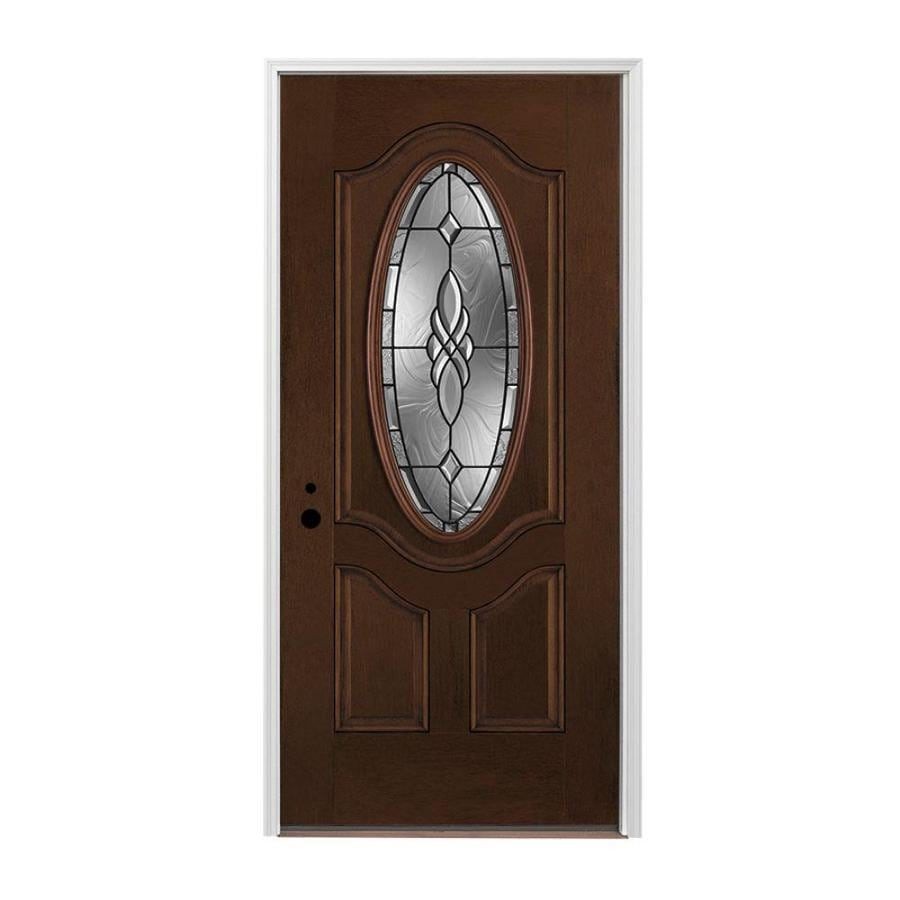 Pella 1-panel Insulating Core Right-Hand Inswing Prestained Dark Mahogany Fiberglass Stained Prehung Entry Door (Common: 336-in x 80-in; Actual: 37.5-in x 81.75-in)