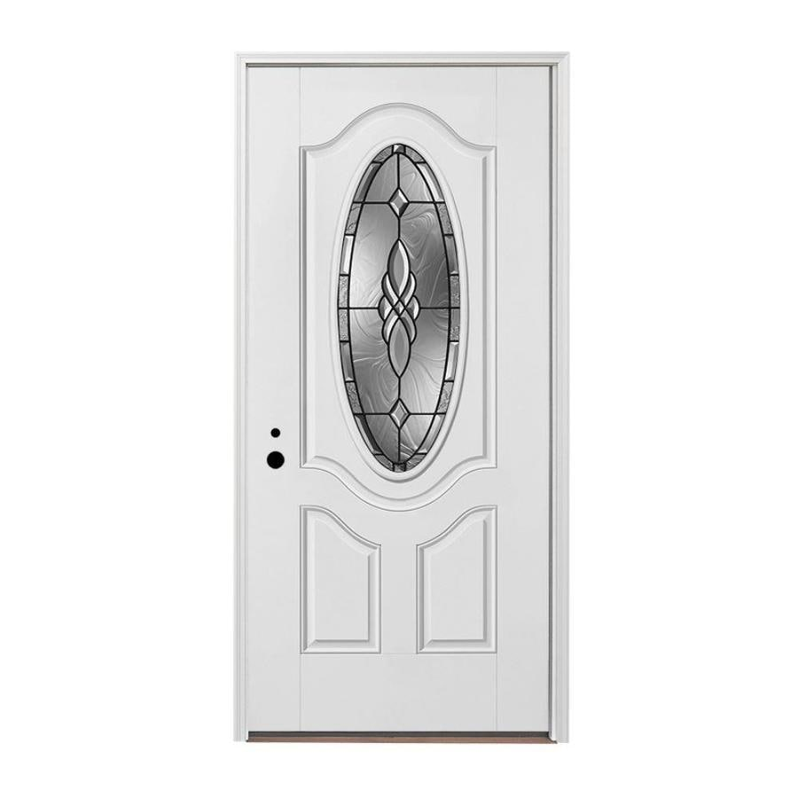 Pella Right-Hand Inswing Painted Fiberglass Entry Door with Insulating Core (Common: 36-in x 80-in; Actual: 37.5-in x 81.75-in)
