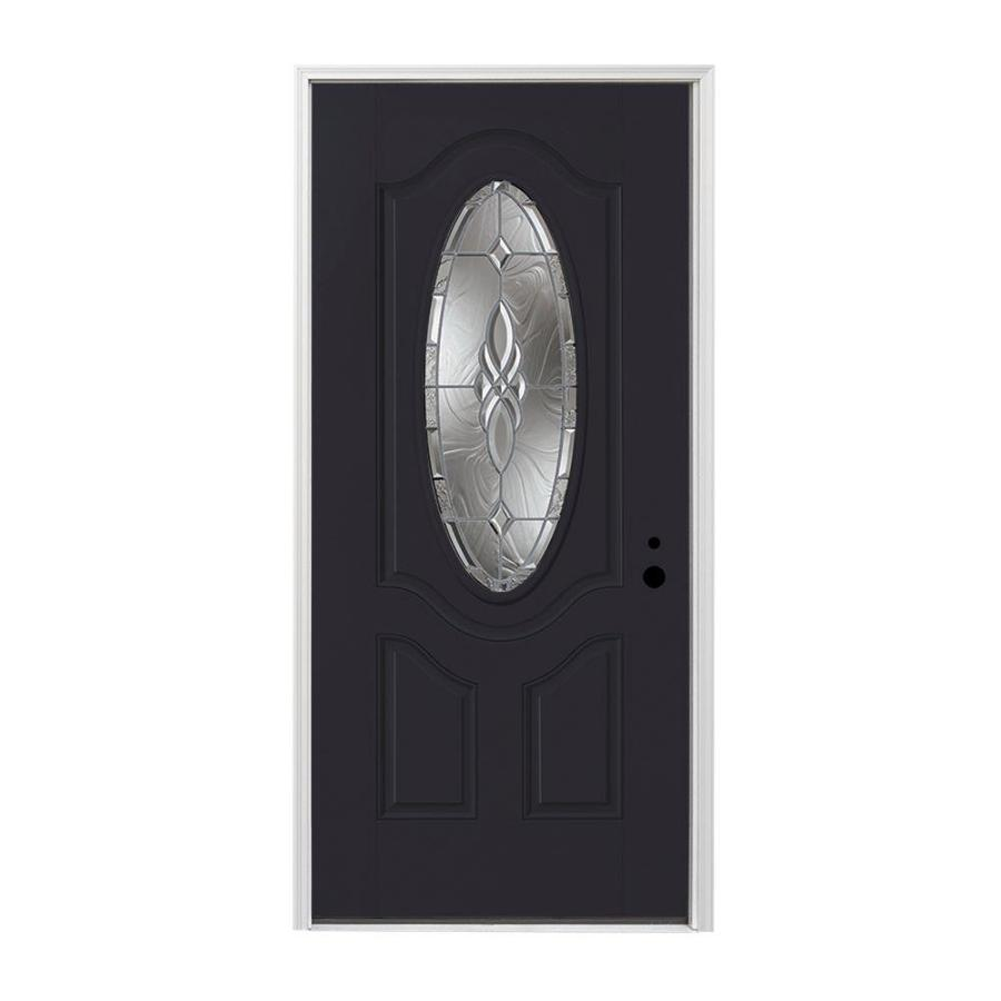Pella 3-panel Insulating Core Oval Lite Left-Hand Inswing Fiberglass Painted Prehung Entry Door (Common: 36-in x 80-in; Actual: 37.5-in x 81.75-in)
