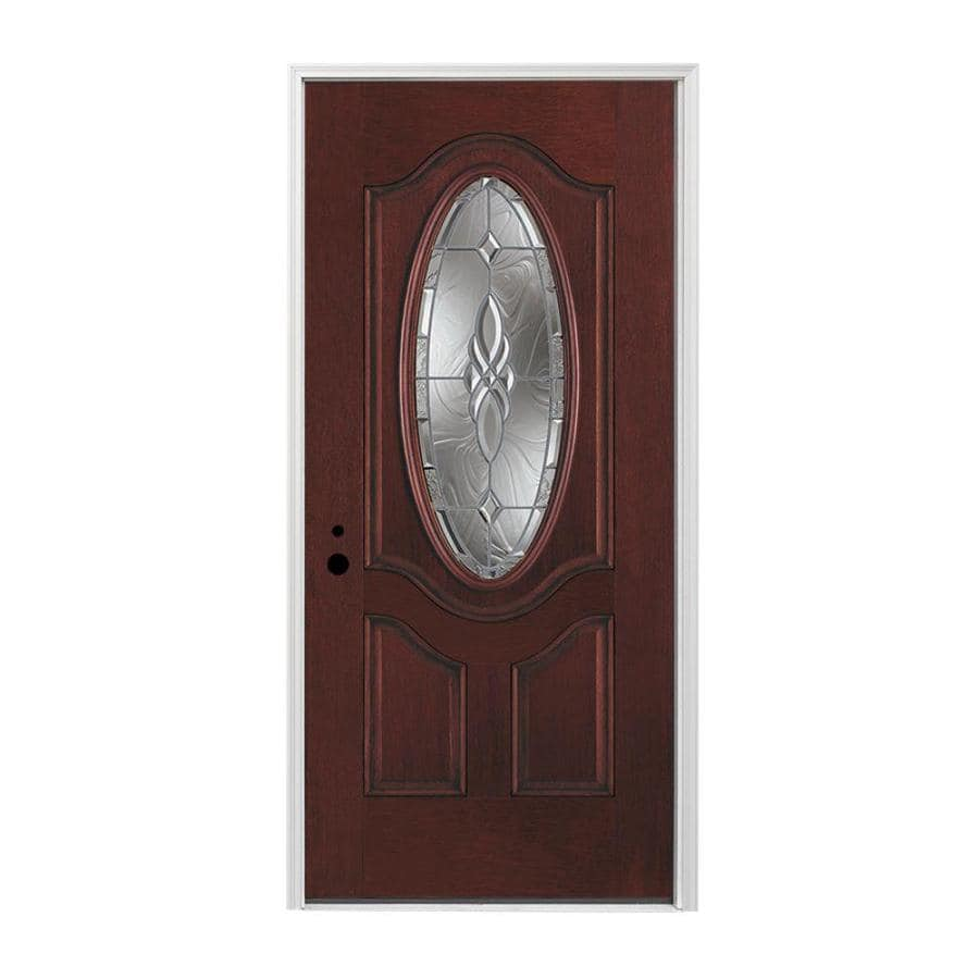 Shop Pella Right Hand Inswing Red Mahogany Stained Fiberglass Entry Door With Insulating Core