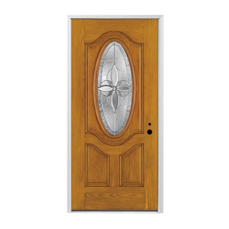 Pella 3-panel Insulating Core Oval Lite Left-Hand Inswing Prestained Golden Oak Fiberglass Stained Prehung Entry Door (Common: 36-in x 80-in; Actual: 37.5-in x 81.75-in)