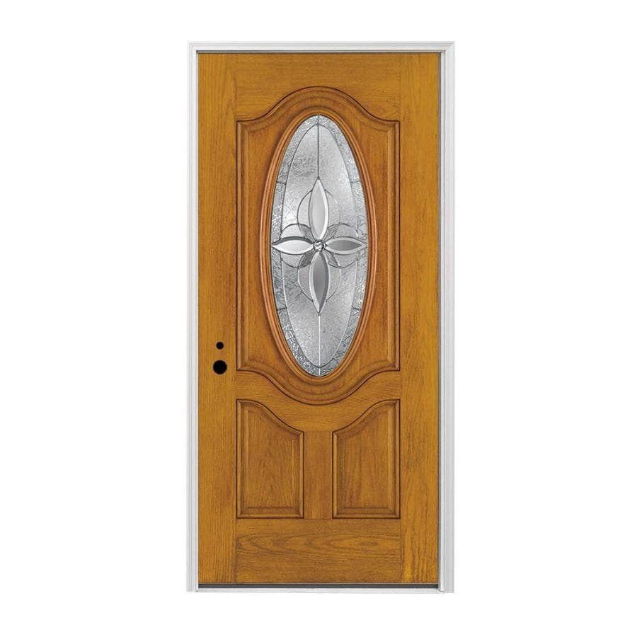 Pella 3-panel Insulating Core Oval Lite Right-Hand Inswing Prestained Golden Oak Fiberglass Stained Prehung Entry Door (Common: 36-in x 80-in; Actual: 37.5-in x 81.75-in)