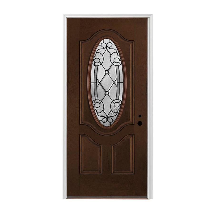 Pella 3-panel Insulating Core Oval Lite Left-Hand Inswing Prestained Dark Mahogany Fiberglass Stained Prehung Entry Door (Common: 36-in x 80-in; Actual: 37.5-in x 81.75-in)