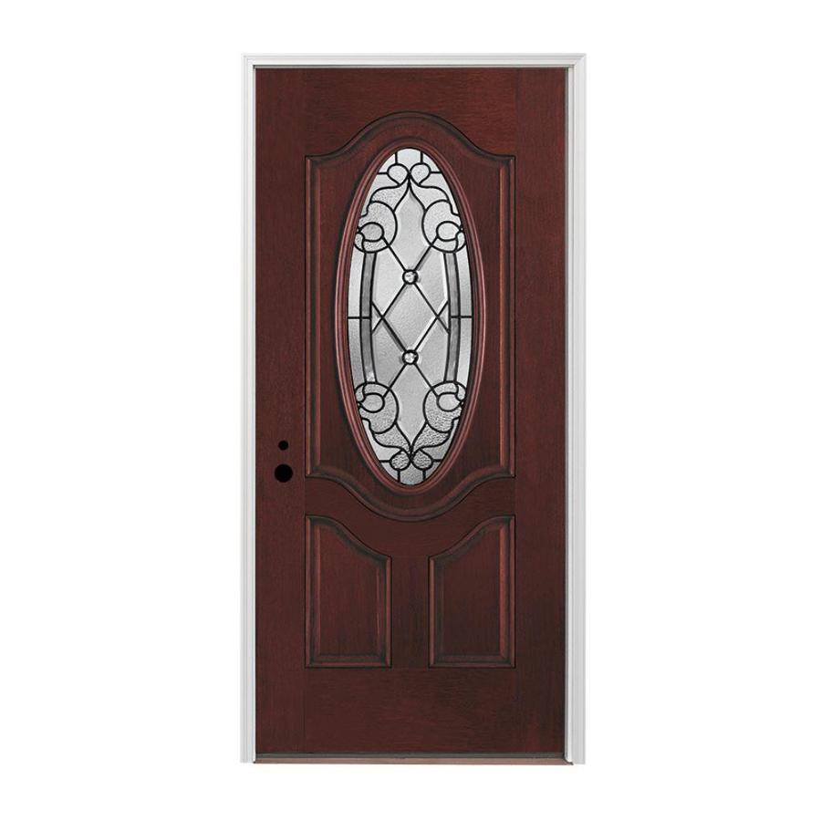 Pella Right-Hand Inswing Red Mahogany Stained Fiberglass Entry Door with Insulating Core (Common: 36-in x 80-in; Actual: 37.5-in x 81.75-in)