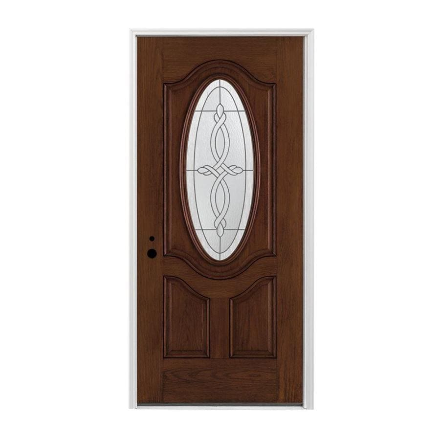 Pella 3-panel Insulating Core Oval Lite Right-Hand Inswing Prestained Dark Mahogany Fiberglass Stained Prehung Entry Door (Common: 36-in x 80-in; Actual: 37.5-in x 81.75-in)