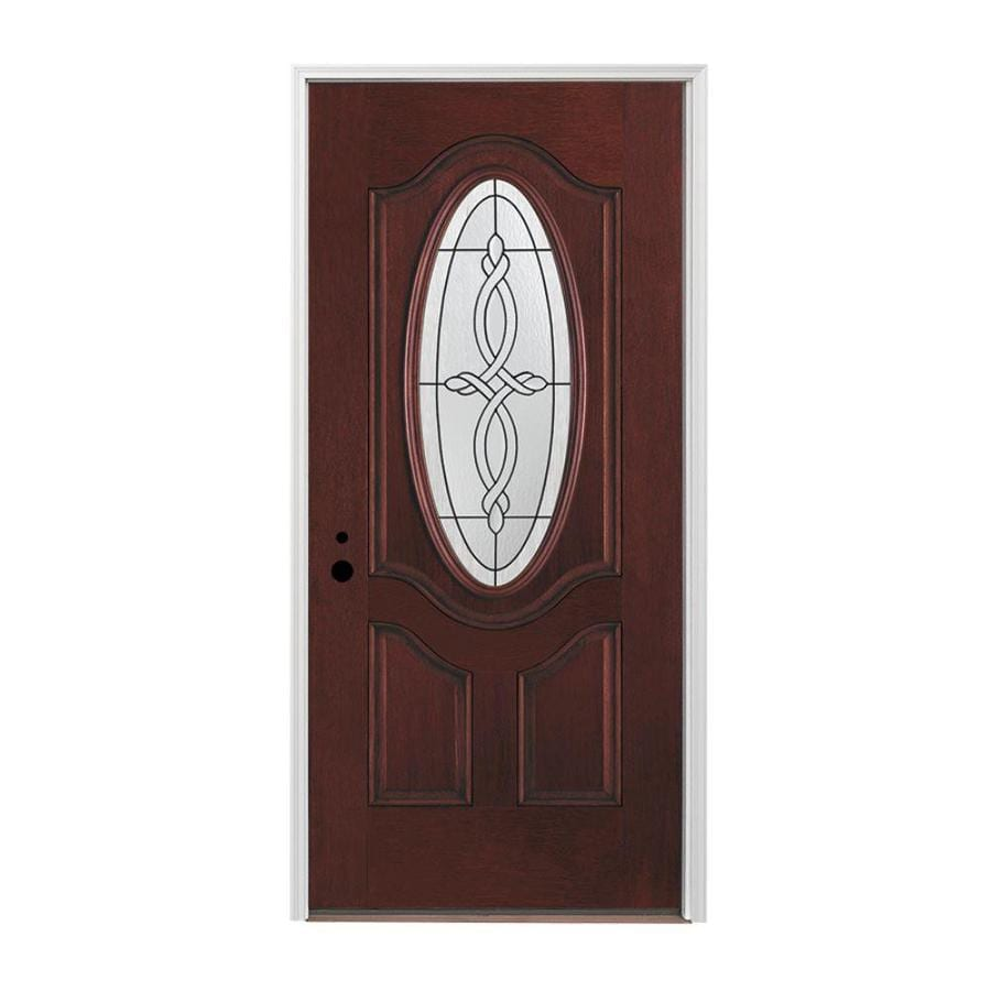 Pella 3-panel Insulating Core Oval Lite Right-Hand Inswing Prestained Red Mahogany Fiberglass Stained Prehung Entry Door (Common: 36-in x 80-in; Actual: 37.5-in x 81.75-in)