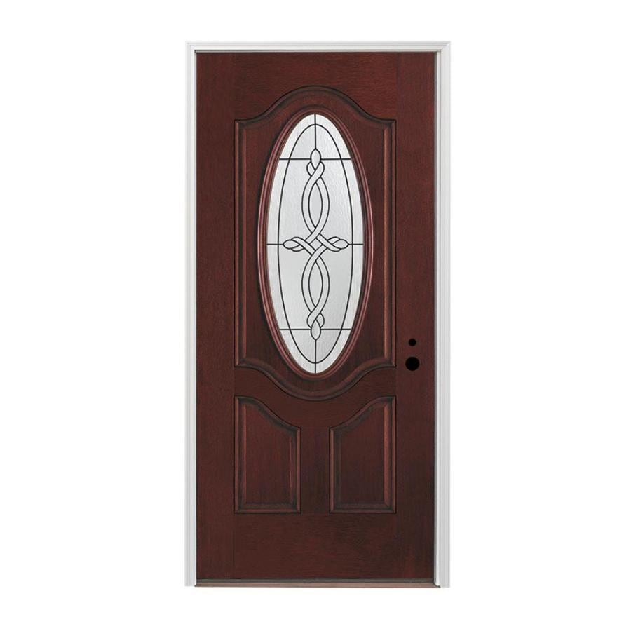 Pella 3-panel Insulating Core Oval Lite Left-Hand Inswing Prestained Red Mahogany Fiberglass Stained Prehung Entry Door (Common: 36-in x 80-in; Actual: 37.5-in x 81.75-in)