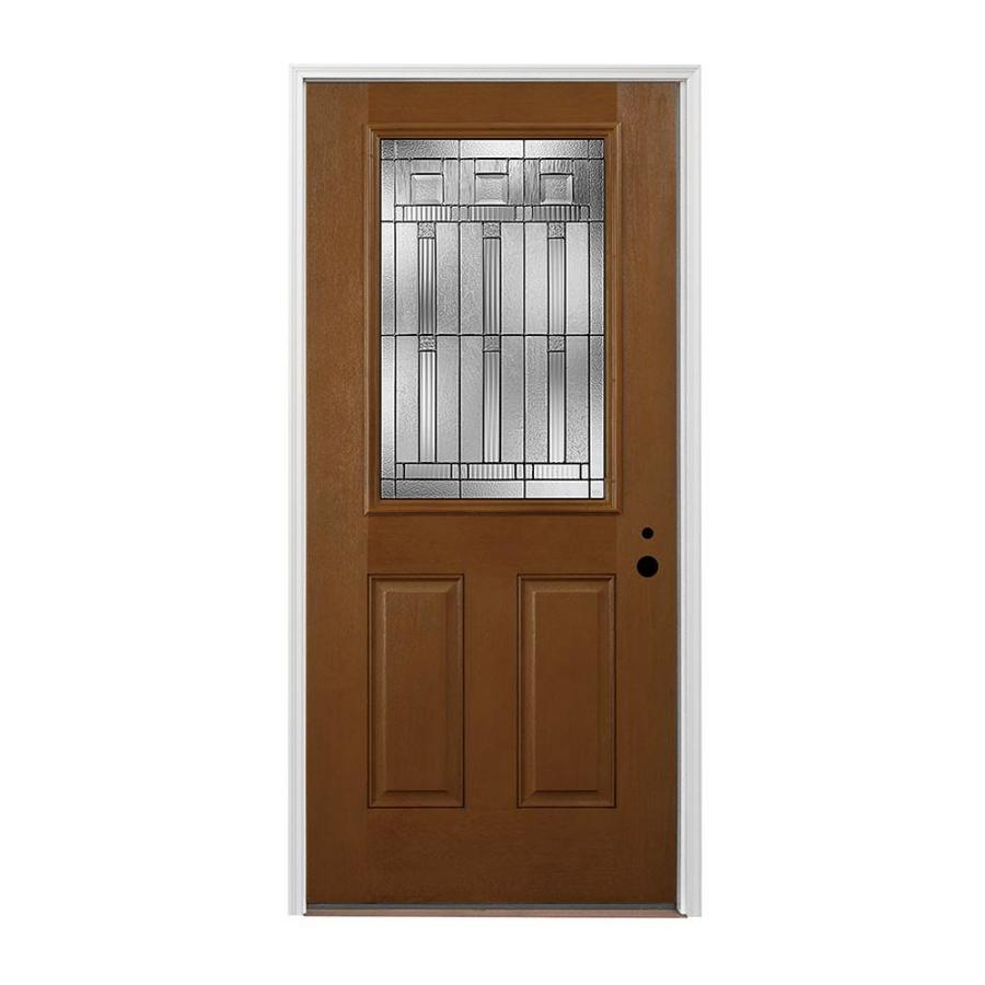 Pella 2-panel Insulating Core Half Lite Left-Hand Inswing Prestained Special Walnut Fiberglass Stained Prehung Entry Door (Common: 36-in x 80-in; Actual: 37.5-in x 81.75-in)
