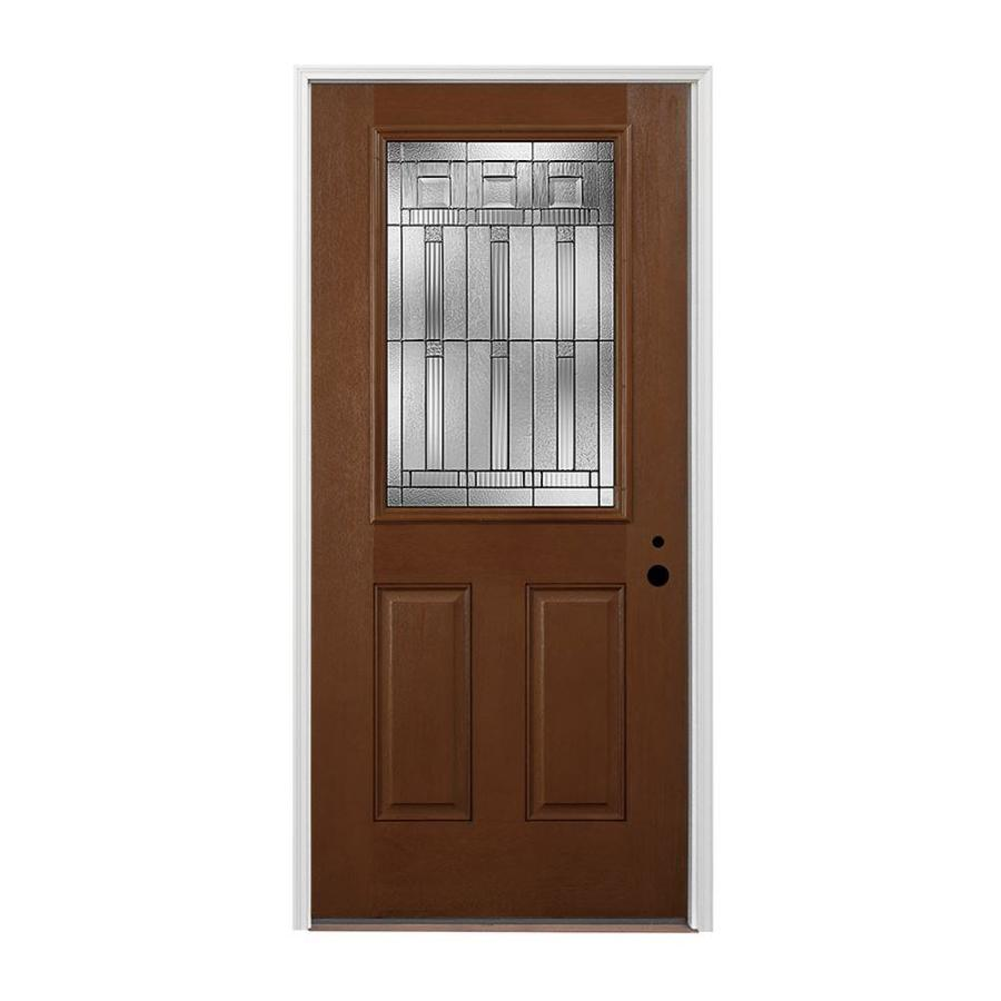 Pella 2-panel Insulating Core Half Lite Left-Hand Inswing Prestained Provincial Fiberglass Stained Prehung Entry Door (Common: 36-in x 80-in; Actual: 37.5-in x 81.75-in)