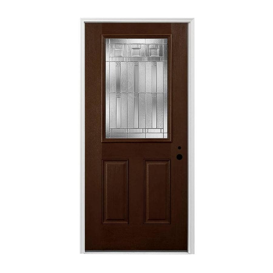 Pella 2-panel Insulating Core Half Lite Left-Hand Inswing Prestained Dark Mahogany Fiberglass Stained Prehung Entry Door (Common: 36-in x 80-in; Actual: 37.5-in x 81.75-in)