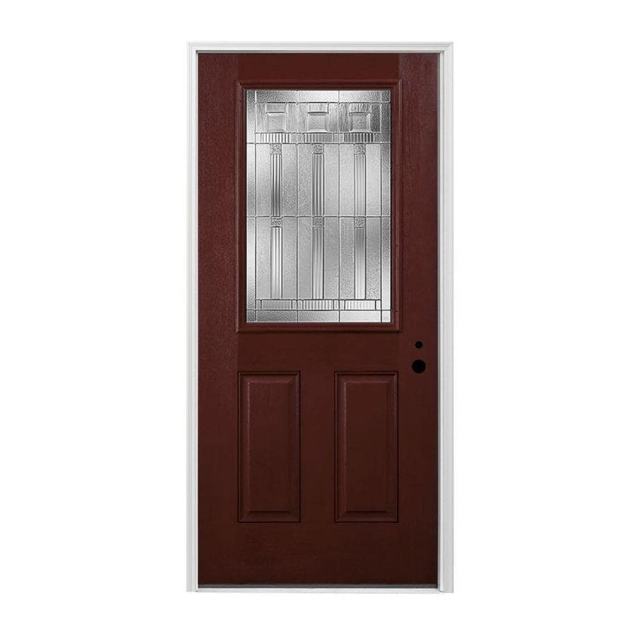 Pella 2-panel Insulating Core Half Lite Left-Hand Inswing Prestained Red Mahogany Fiberglass Stained Prehung Entry Door (Common: 36-in x 80-in; Actual: 37.5-in x 81.75-in)