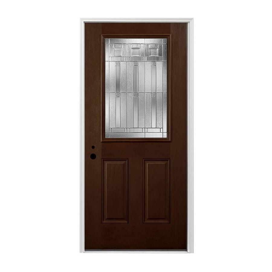 Pella Right-Hand Inswing Dark Mahogany Stained Fiberglass Entry Door with Insulating Core (Common: 36-in x 80-in; Actual: 37.5-in x 81.75-in)