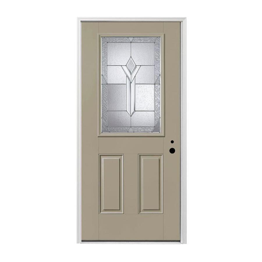 Pella 2-panel Insulating Core Half Lite Left-Hand Inswing Fiberglass Painted Prehung Entry Door (Common: 36-in x 80-in; Actual: 37.5-in x 81.75-in)