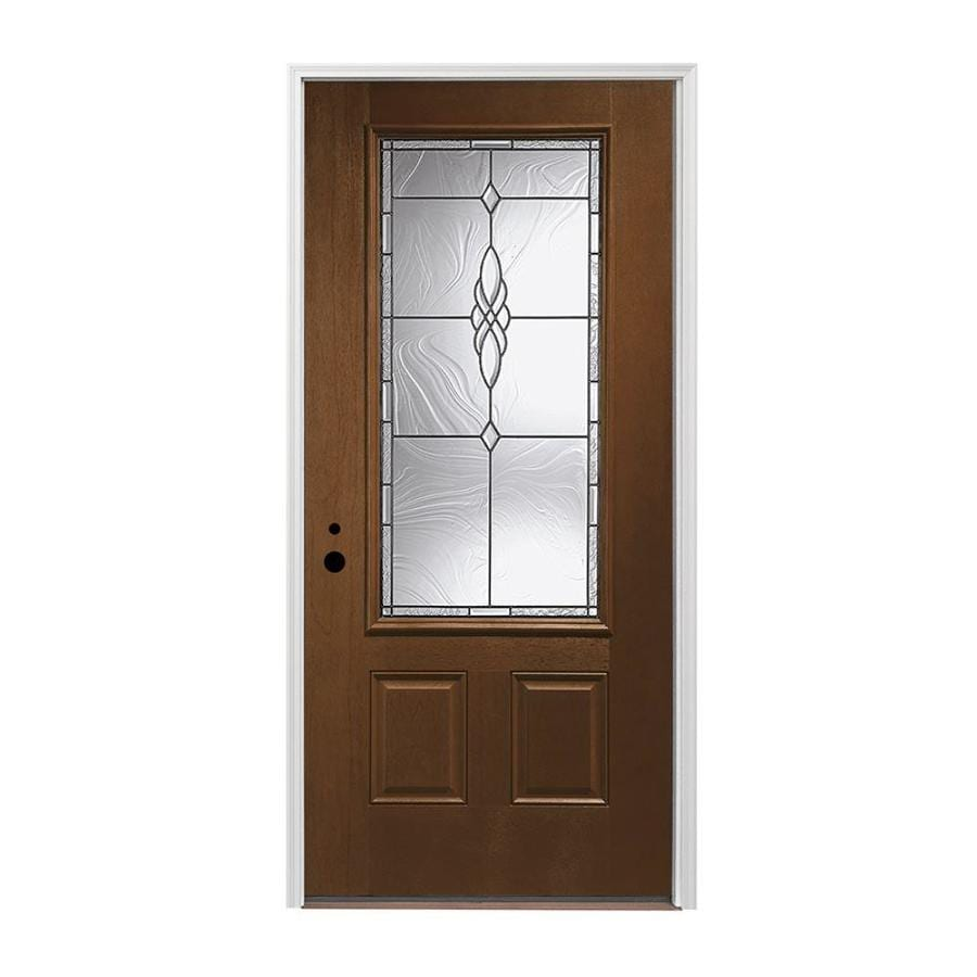 Pella 2-panel Insulating Core 3/4 Lite Right-Hand Inswing Prestained Provincial Fiberglass Stained Prehung Entry Door (Common: 36-in x 80-in; Actual: 37.5-in x 81.75-in)